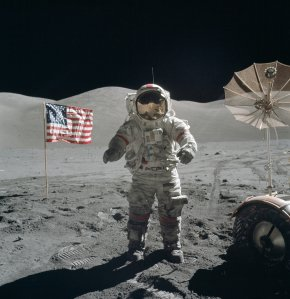Gene Cernan standing on the Moon