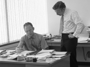 Gordon Moore working at Intel in 1970